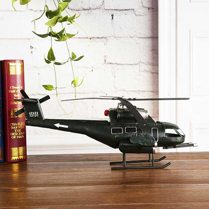 レトロヘリコプター模型鉄航空機モデル写真撮影は、アンティークの装飾品デスク装飾飛行機飛行機ヴィンテージ家の装飾