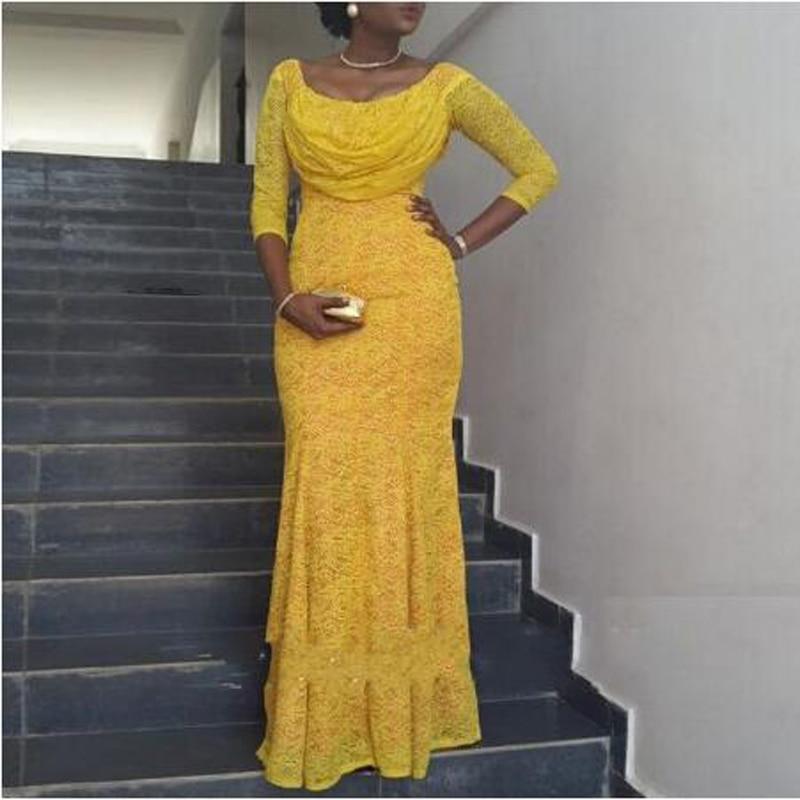 Exquise dentelle trois quarts manches sirène robe de soirée mode bonbon couleur o-cou sur mesure robe de bal robe de soirée
