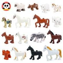 Большой размер здание блоки ферма животные аксессуары лошадь свинья овца коза совместимость Duplo сборка обучающие игрушки для детей
