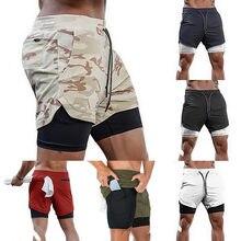 Pantalones cortos 2 en 1 para correr para hombre, Pantalones cortos de playa de secado rápido para gimnasio, ropa de deporte y entrenamiento de verano, 2021