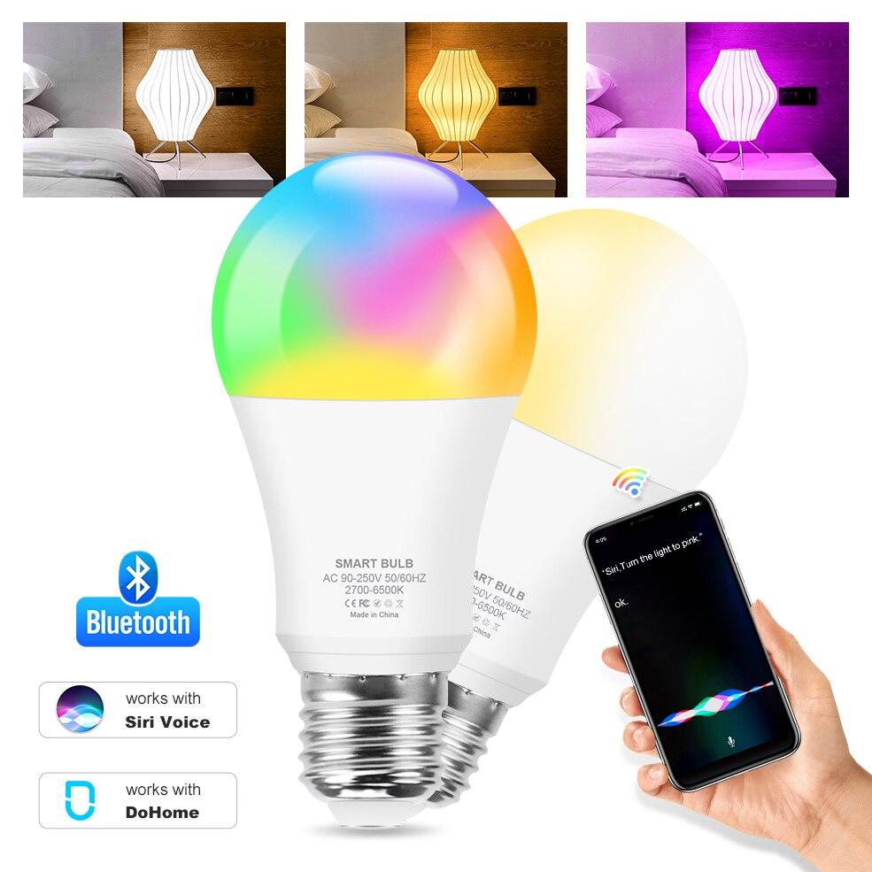 Умсветильник лампочка E27 RGBCW, 12 Вт, Bluetooth, светодиодная лампочка для украшения спальни, RGB + белый + теплый белый, регулируемая Волшебная лампоч...