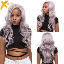 Perruque Lace Front Wig couleur platine argent X TRESS, perruques synthétiques, cheveux de bébé ondulés naturels longs et raie libre/latérale pour femmes