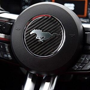 Image 5 - موستانج ريال ألياف الكربون عجلة القيادة شعار لفورد موستانج ملصقات السيارات سيارة التصميم 2015 2018 موستانج ملصقات اكسسوارات