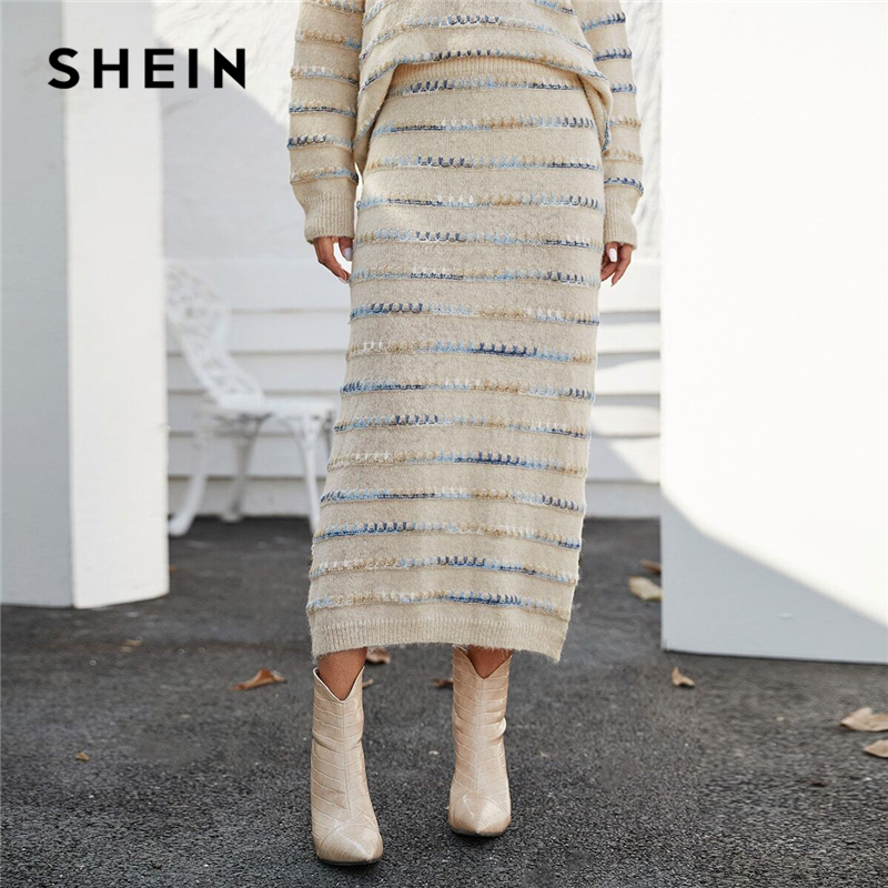 SHEIN Beige Tie Dye Whipstitch Fuzzy Casual Sweater Skirt Women Bottoms Spring Streetwear Colorful Stretchy Ladies Long Skirts