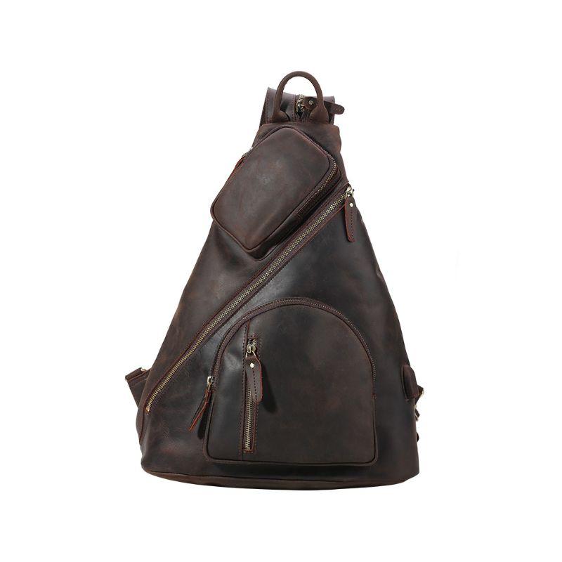 2019 модная Мужская винтажная сумка через плечо, нагрудный рюкзак, зарядка через usb, для путешествий, спорта - 3