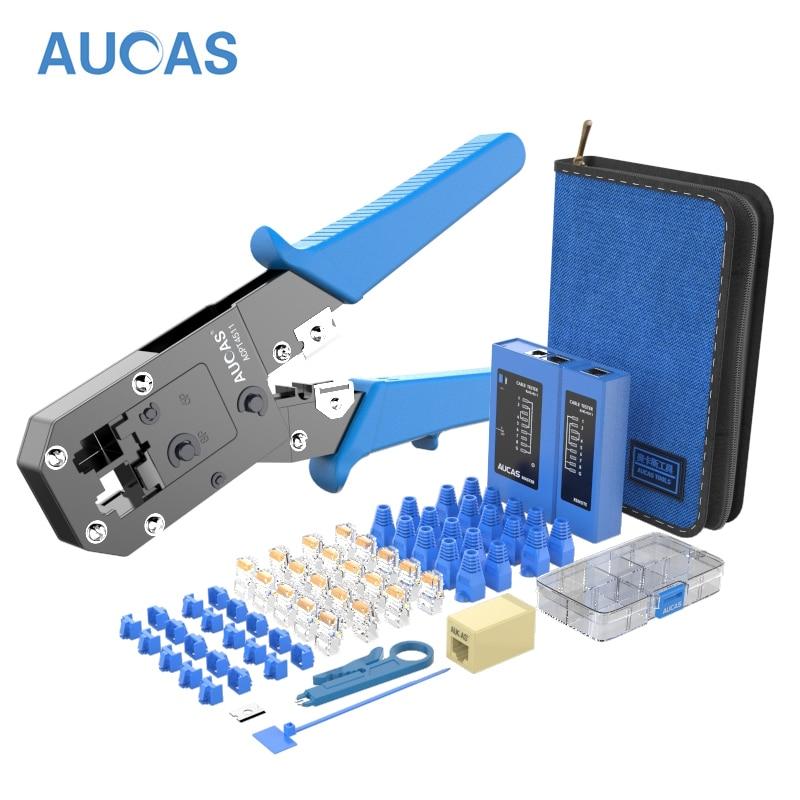 AUCAS Rj45 щипцы инструмент для обжима кабеля сетевой провод, плоскогубцы Набор Lan RJ12 инструменты удар Mikrotik Krimptang оборудование