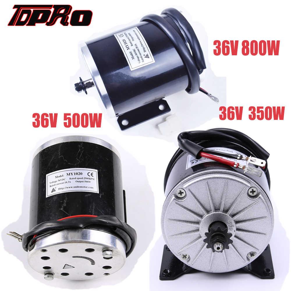 TDPRO nouveau 36V 350W 500W 800W moto électrique moteur brossé haute vitesse brosse DC moteurs pour vtt Scooter aller Kart Buggy Pit Bike