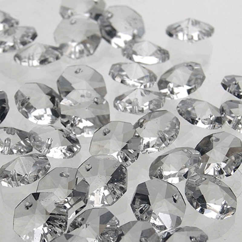 14mm Clear 200pcs Crystal octagon bead, K9 crystal 2 holes, Diy Wedding & home decoration, Crystal Accessories chandelier parts image