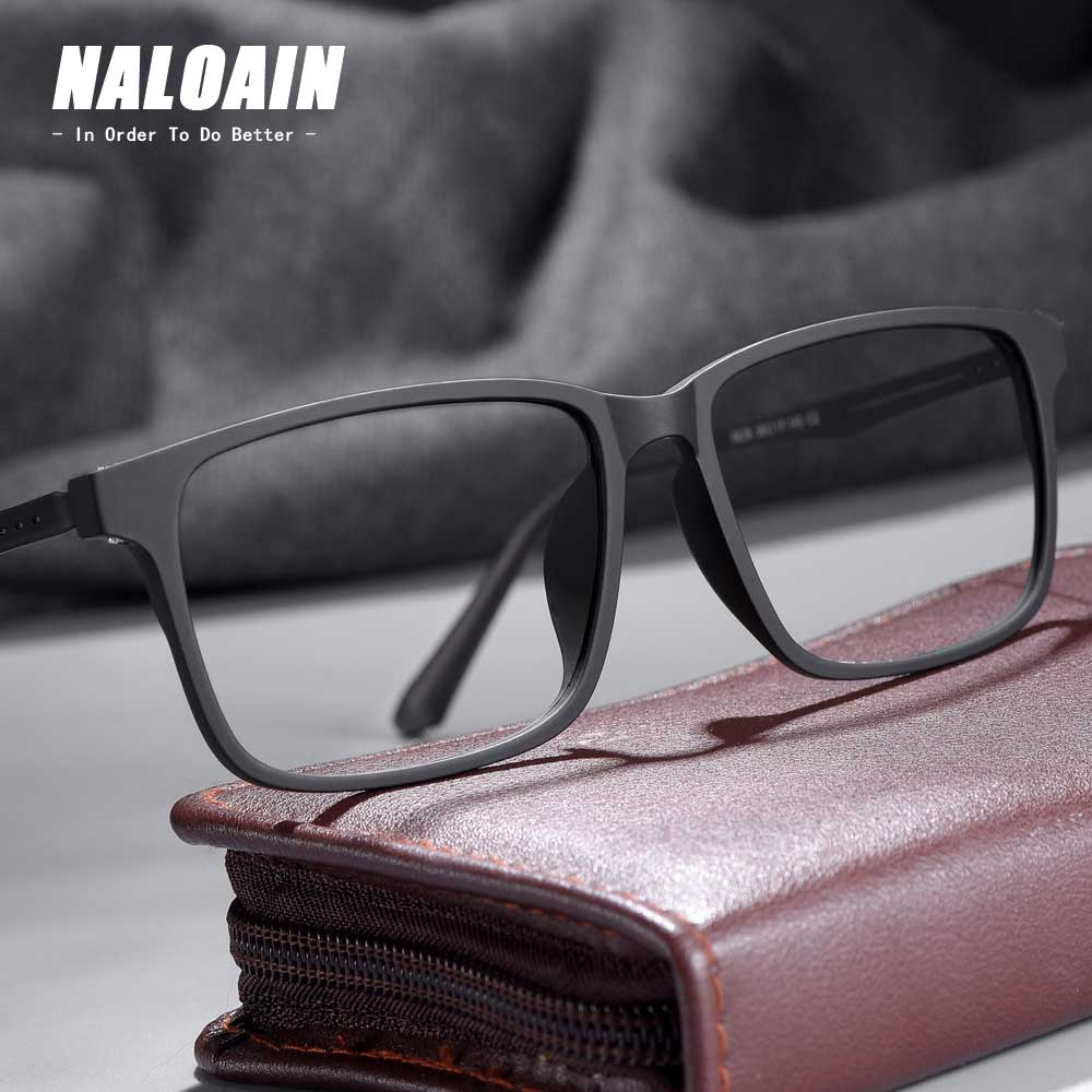 NALOAIN Myopia Eye Glasses Frame Ultralight Square Prescription Eyeglasses Titanium TR90 Frame Optical Eyewear For Men Women