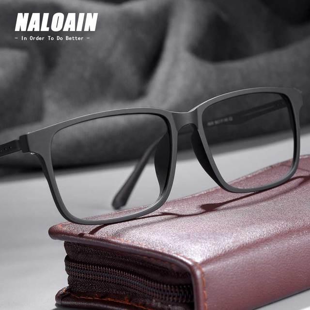NALOAIN 근시안 안경 프레임 초경량 사각 처방 안경 티타늄 TR90 프레임 광학 안경 남성 여성을위한