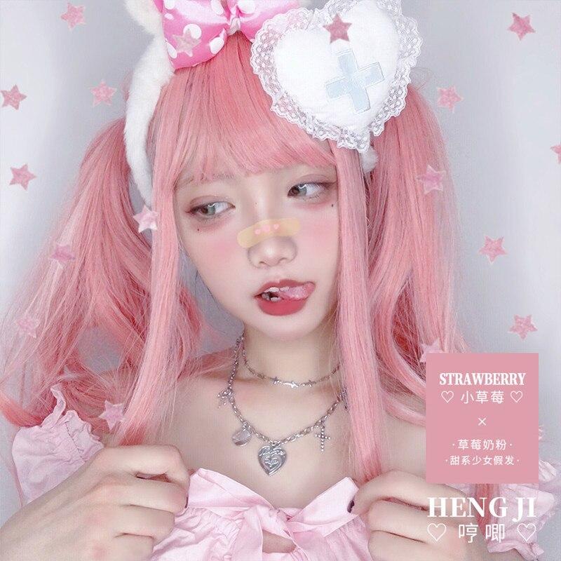 Image 2 - Uwowo longo cabelo reto rosa lolita peruca cosplay resistente ao calor do cabelo sintético anime festa perucas colorido rosa perucaFantasia de Anime   -