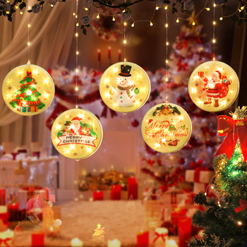 New Christmas Atmosphere Curtain Window Room Decoration Led Lantern Suction Cup Hanging Lamp Christmas Decoration Hanging Lights led christmas lights decoration suction cup snowman christmas tree curtain lights battery lights holiday atmosphere lighting