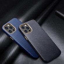 Skórzany wzór z włókna węglowego minimalistyczny futerał na telefon dla iPhone 12 Pro Max Mini 11 Pro XS Max XR SE 7 8Plus luksusowa szczupła miękka okładka