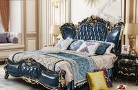 European StyleLeather Bed Villa Luxury King Bed Princess Bed Bedroom Solid Wood Bed Double Bed