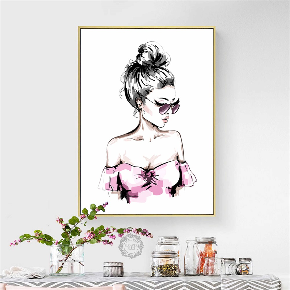 Watercolor Perfume High Heels Butterfly Girl Wall Art Canvas Painting Nordic Posters And Prints Wall Pictures For Bedroom Decor in Painting Calligraphy from Home Garden