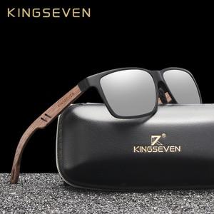 Image 1 - KINGSEVEN Brand New Design Aluminum+Walnut Wooden Handmade Sunglasses Men Polarized Eyewear Accessories Sun Glasses For Women