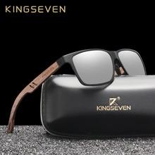 Kingseven óculos de sol alumínio polarizado, novo design de alumínio, com pernas de madeira, feito à mão, acessório para homens e mulheres