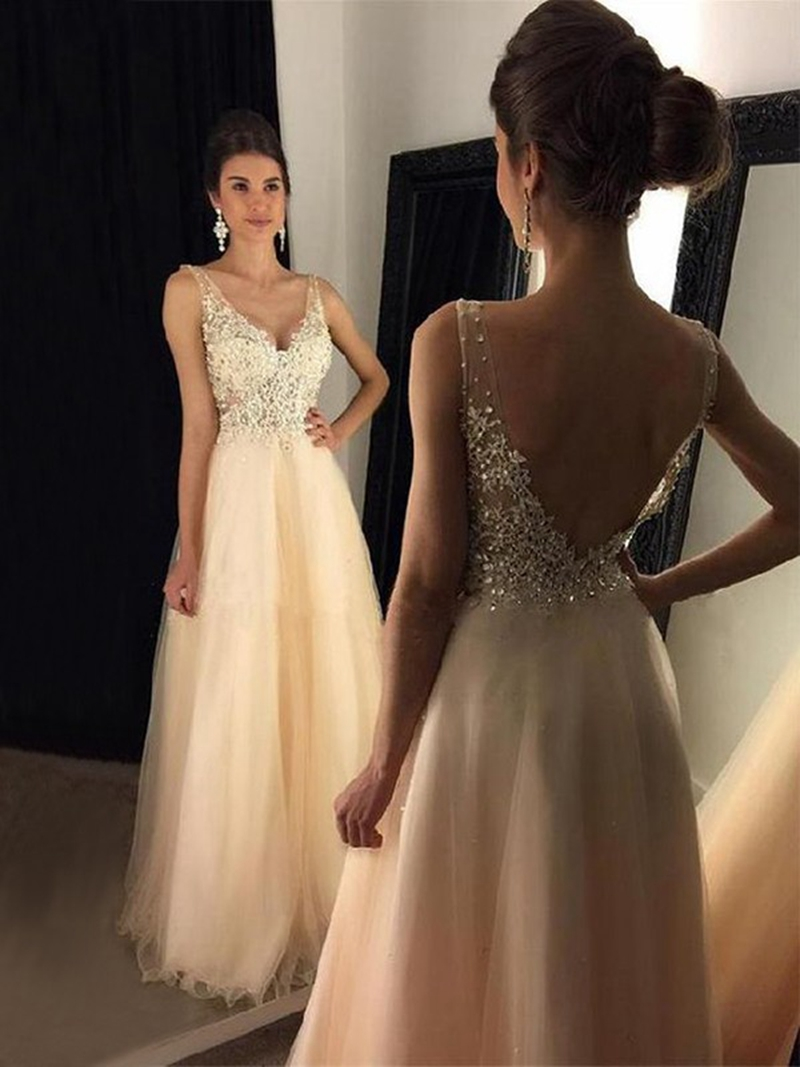 Champagne V Neck Prom Dresses Appliques Tulle Sleeveless Floor Length Graduation A-line Backless Formal Party Long Evening Gowns
