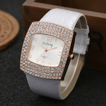 купить Gogoey Watches Fashion Leather Wristwatch Luxury Crystal Watches Women Ladies Watch Leather Band Quartz Watch horloges vrouwen дешево