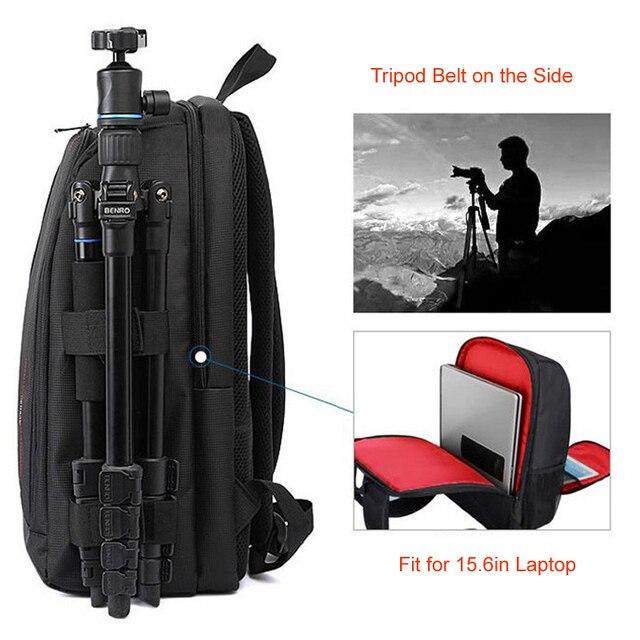 Imperméable à leau DSLR Photo sac à dos rembourré avec housse de pluie ordinateur portable 15.6