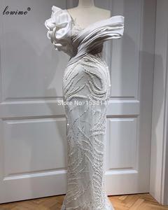 Vestidos de Noche de talla grande Vintage de color blanco con diseño de sirena hechos a mano para mujer