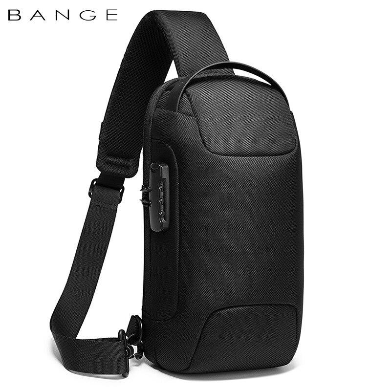 BANGE Hot Chest Bag New Anti-thief Men Crossbody Bag Waterproof Shoulder Bags USB Charging Short Trip For Male Travel Pack