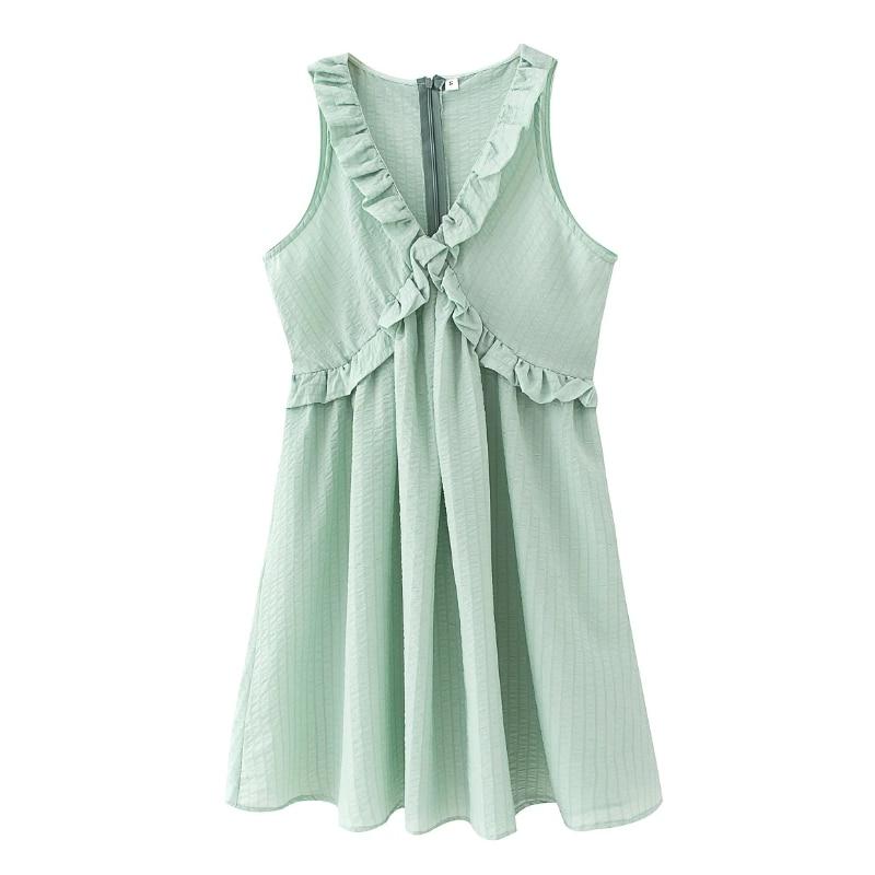 New 2020 Women Sweet  Agaric Lace Solid Color Sleeveless Casual Slim Mini Dress Female Pleat Ruffles Vestido Chic Dresses DS3851