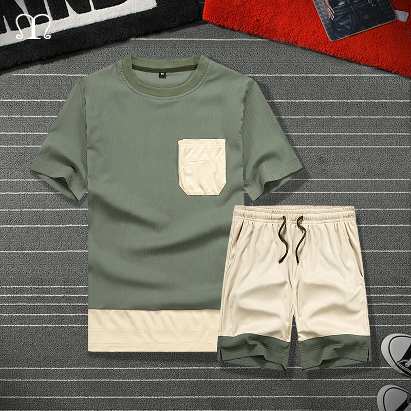 Tracksuit Men Sets 2020 Summer Casual Set Men's Sportsuit Armgreen Tee Shirt Tops Male Shorts Set Brand Sportswear Clothing