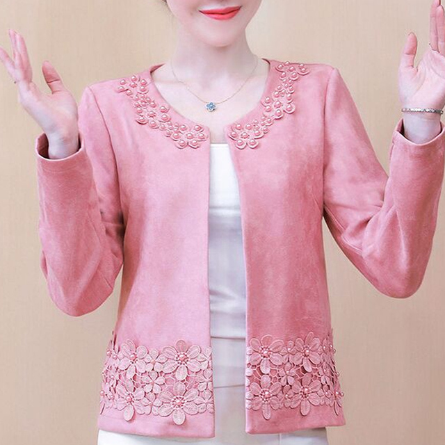 Jackets for Women Long Sleeve Jacket Women Beading O-Neck Woman Jacket 3XL 4XL  Cardigan Short Jacket Coat Women D107 1