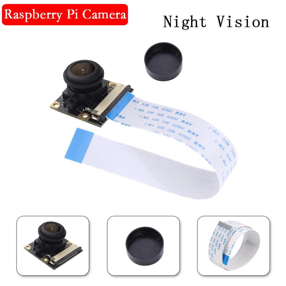Raspberry Pi 3 Night Vision Fisheye Camera 5MP OV5647 130 Degree Focal Adjustable Camera For Raspberry Pi 4 Model B 3B Plus 3B+