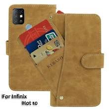 Couro do vintage carteira infinix quente 10 caso 6.78