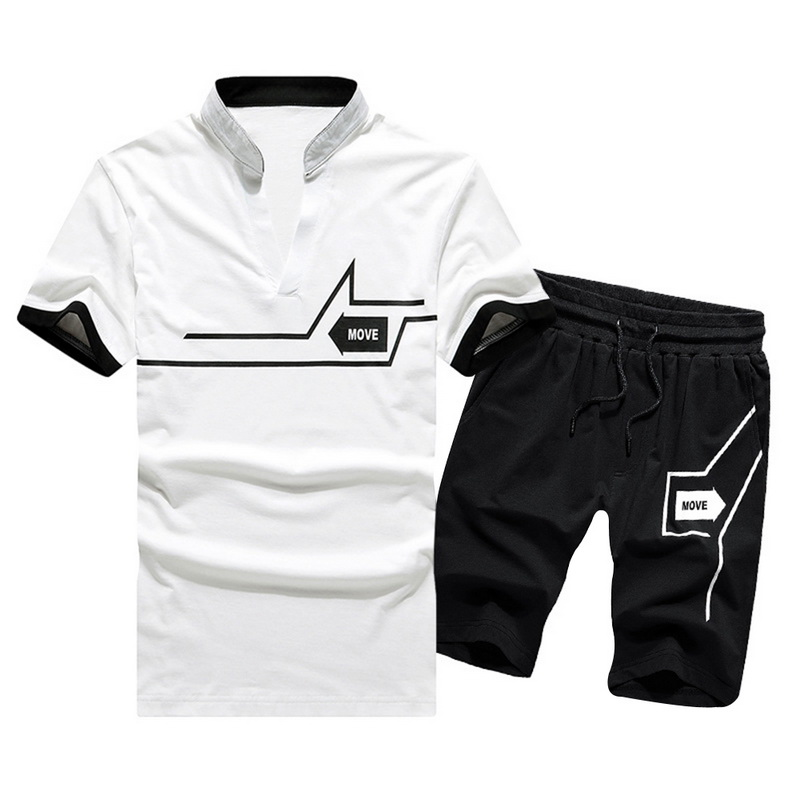 Oeak 2020 Summer Men's Tracksuit Set Casual Short Sleeve Letter Print Sports Sets 2 Piece T Shirt And Shorts Sets Gym Outfit