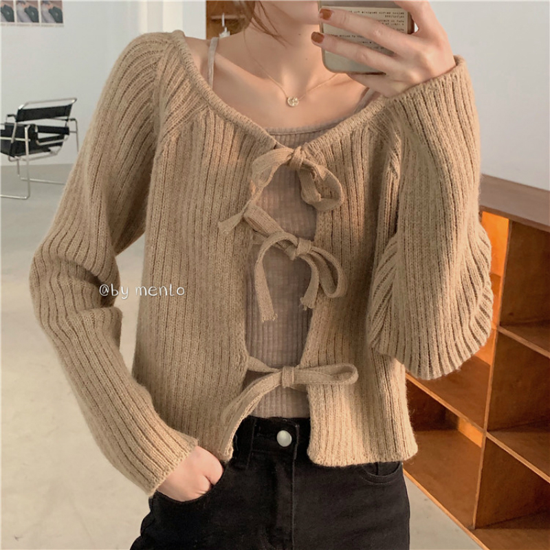 Women Spring Sexy Round Collar Long Sleeve Lacing Knitted Cardigan Tops Thin Outwear Short Sweater Coat