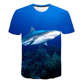 Lato 3D Fierce Shark dzieci t-shirty błękitne morze ryby chłopcy i dziewczęta t-shirty marzycielski t-shirty nowy projekt koszulki topy Dropshipping tanie i dobre opinie BIAOLUN Poliester spandex Nowość Zwierząt REGULAR O-neck Tees Krótki Pasuje prawda na wymiar weź swój normalny rozmiar