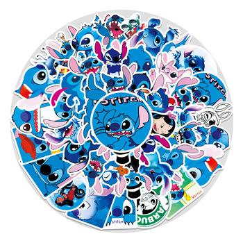 strong Import List strong 58 sztuk Disney Stitch papiernicze naklejki wodoodporne na laptopa Anime naklejki śmieszne Lilo i ściegu naklejki na deskorolkę tanie i dobre opinie CN (pochodzenie)