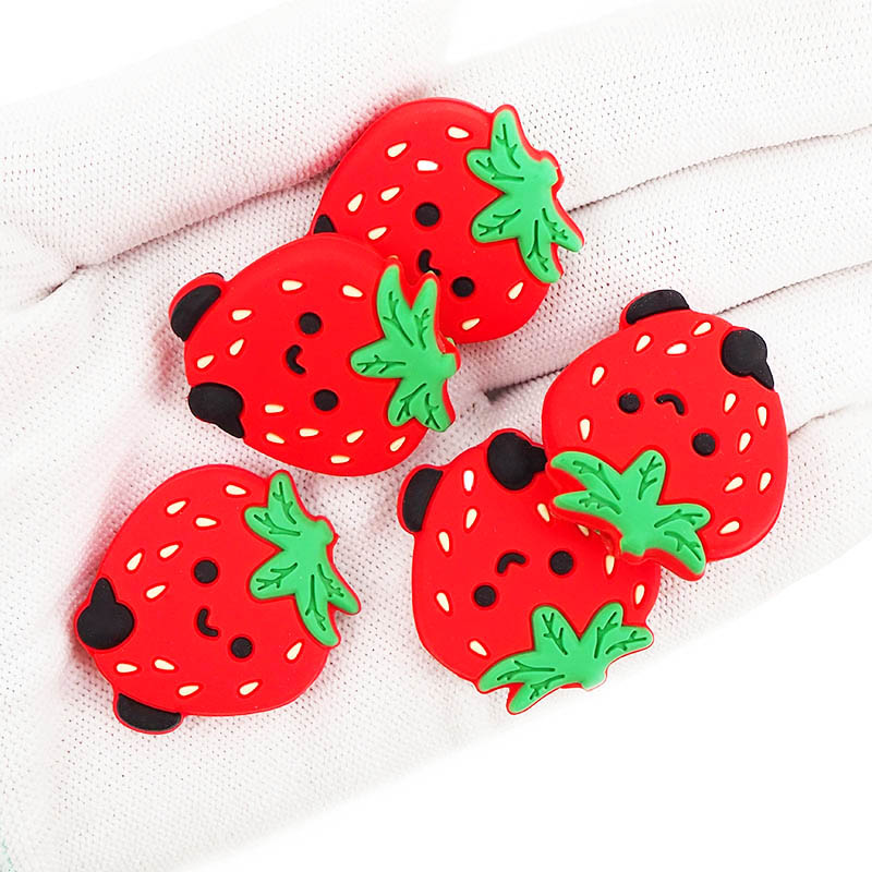 Chenkai 10 pièces Silicone fraise perles bébé mâcher pendentif soins infirmiers sensoriels dentition sucette collier à faire soi-même chaîne accessoires
