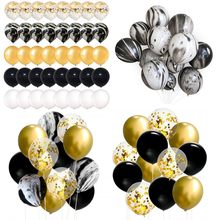 12pcs 10inch Black Marble Latex Helium Balloons Bouquet Christmas New Year Baby Birthday Wedding Party Decoration(China)