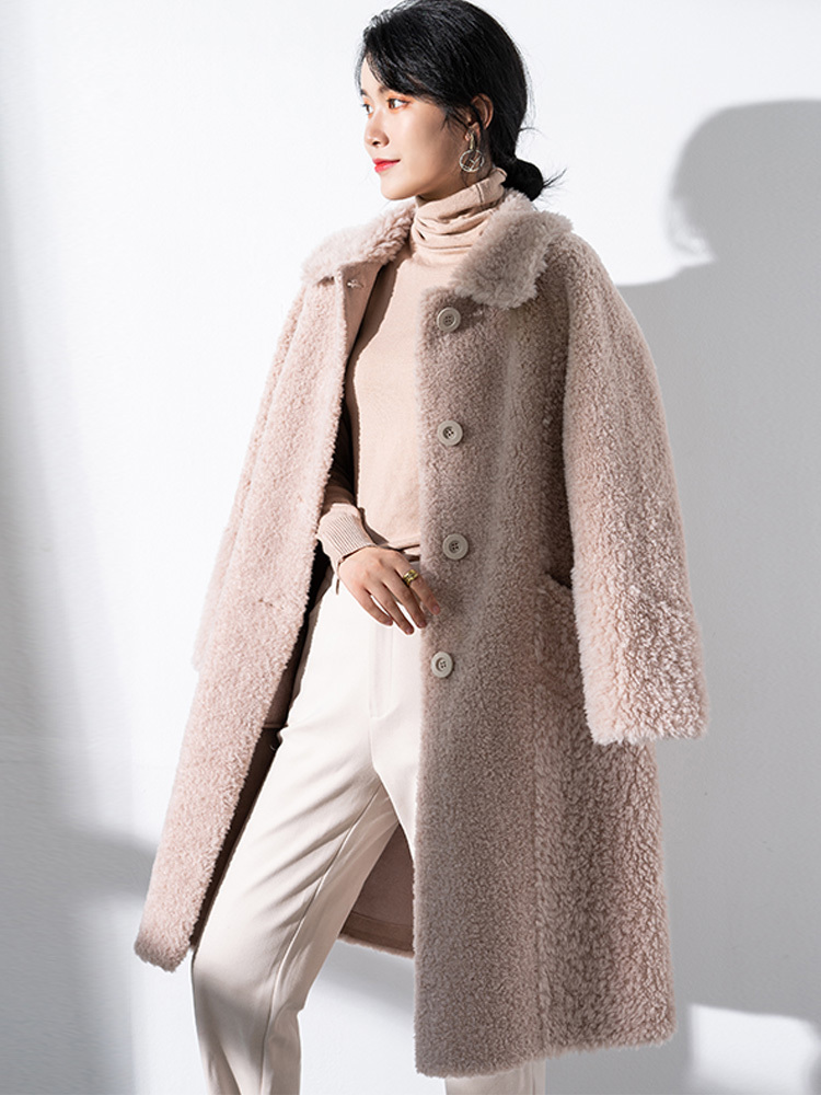 Fur Real 2020 Coat Winter Coat Women Sheep Shearling 100% Wool Coat Female Jacket Korean Long Coats Manteau Femme T897 S