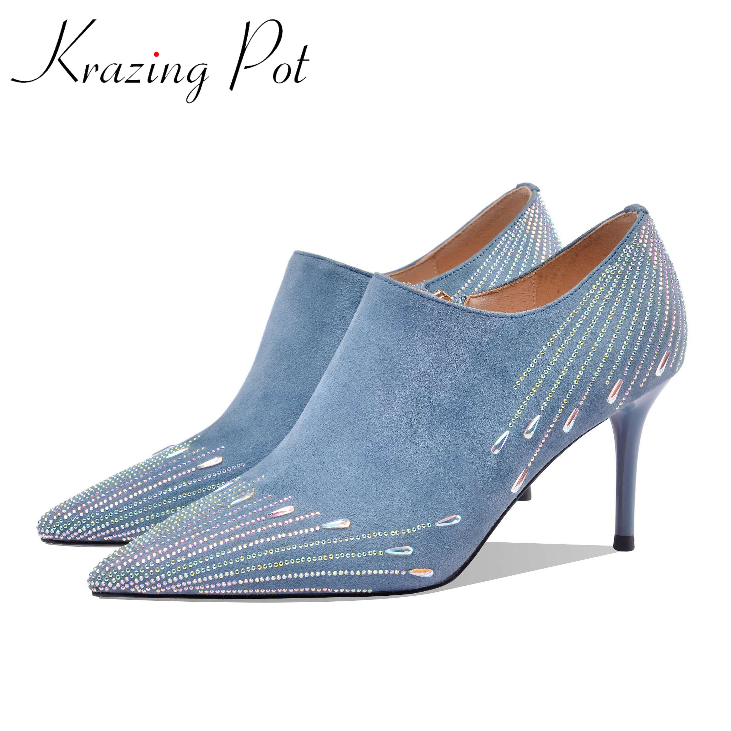 Krazing pot 2020 hot saling kid suede pointed toe high thin heels rhinestone gentlewomen party deep mouth early spring pumps L03