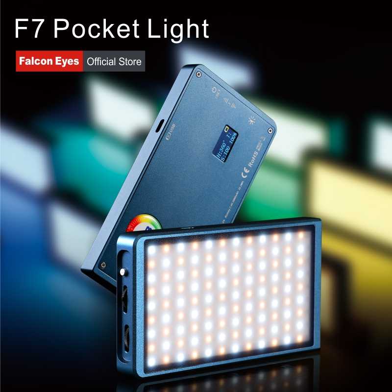 Falcon Eyes Photography Lighting 12W RGB LED Mini Pocket Camera Lamp Portable Light For Video/Studio/Youtube/Vlog Fill Light F7-in Photographic Lighting from Consumer Electronics