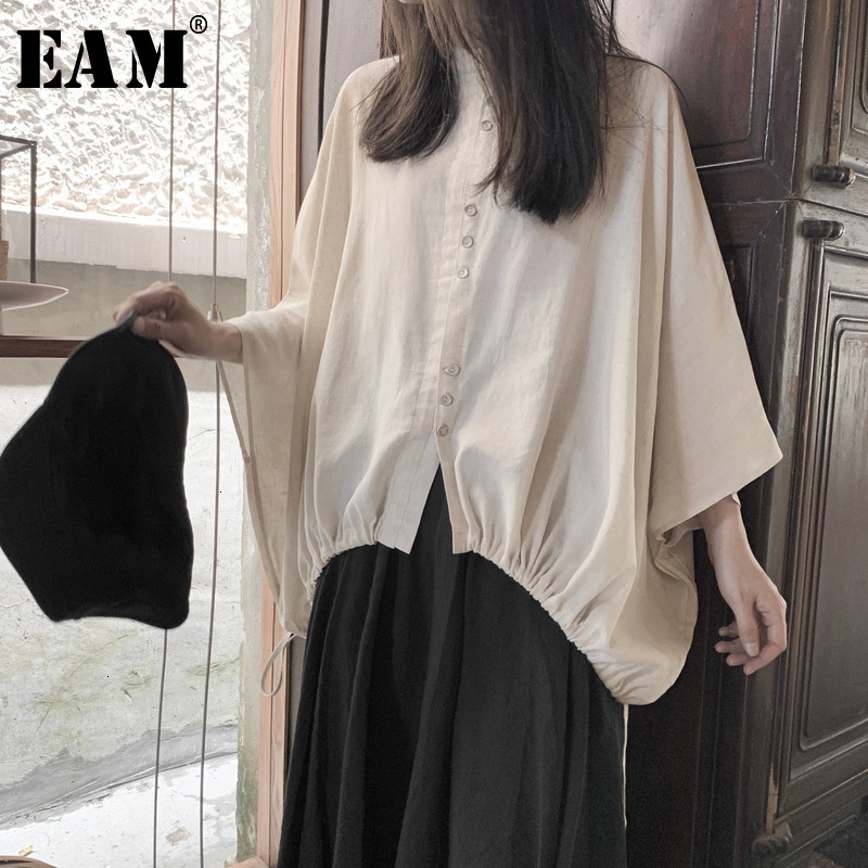 [EAM] Women White Big Size Shirt New Stand CollarThree-quarter Batwing Sleeve Blouse Fashion Tide Spring Autumn 2020 19A-a673