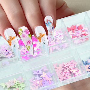 12 Grids Laser Holographic 3D Butterfly Nail Art Sequins Flower Halloween Christmas Sticker Flakes Slices Glitter for Nails