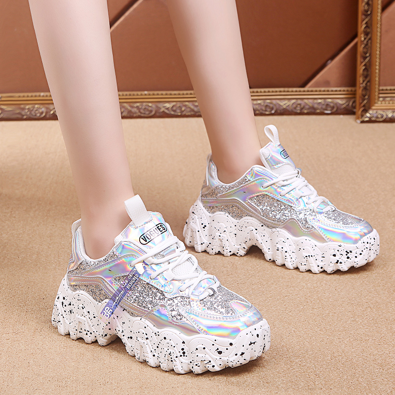 Rimocy Silver Glitter Chunky Sneakers Women 2020 Spring Fashion Laser Bling Platform Shoes Woman High Street Thick Sole Trainers