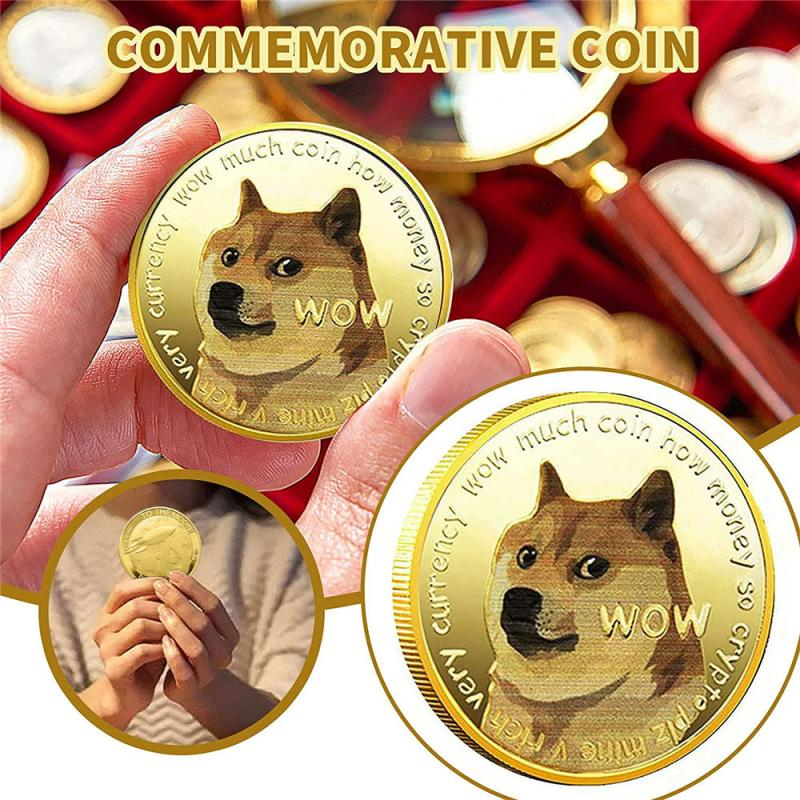1 Piece Gold/Silver Plated Ethereum Ripple Bitcoin Dogecoin Binance Digital Currency Dog Year Commemorative Coins Ornaments 1