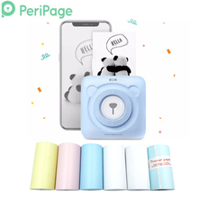 PeriPage Mini Portable Photo Printer 58mm Bluetooth Pictures photo Sticker Receipt 6 rolls label Thermal Paper