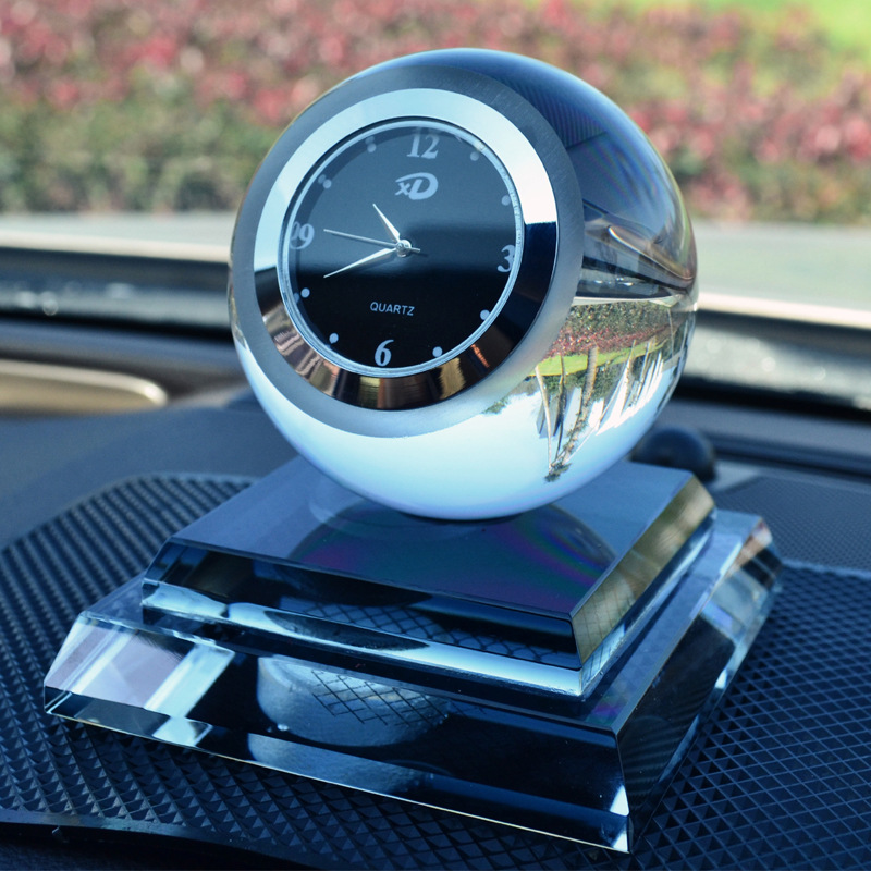 Car Crystal Perfume Seat Crystal Ball with Watch Car Perfume Seat Car Creative Gift Decoration Inside Jewelry Car Accessories