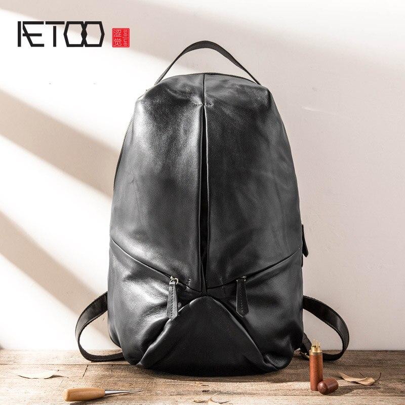 Сумка через плечо AETOO, мужская кожаная повседневная дорожная сумка, вместительный компьютерный рюкзак, Воловья кожа тренд Минималистичная