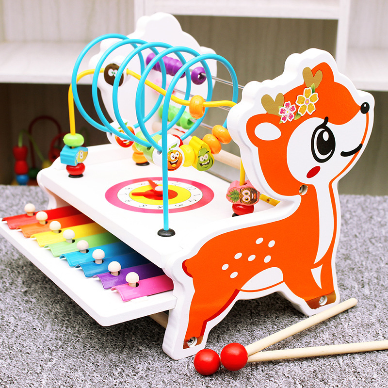 Early Learning Kids Baby Wooden Abacus Toys Fawn Deer Calculator Handcrafted Educational Children\'S Knocked Piano Math Toy Gifts