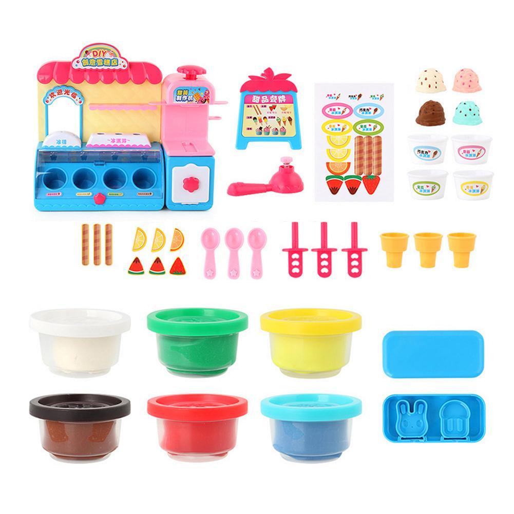 3D coloré pâte à modeler crème glacée boutique enfants crème glacée Machine jouet ensemble enfants bricolage jouets jouer maison jouet pour enfants cadeau d'anniversaire
