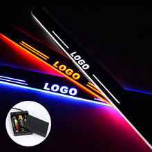 LED Door Sill For Audi A4 B9 S4 RS4 2013 - 2015 Streamed Light Scuff Plate Acrylic Battery Car Door Sill Accessories pp car rear diffuser lip bumper protector with exhaust muffler for audi a4 b9 sline s4 sedan 4 door non a4 rs4 2013 2015